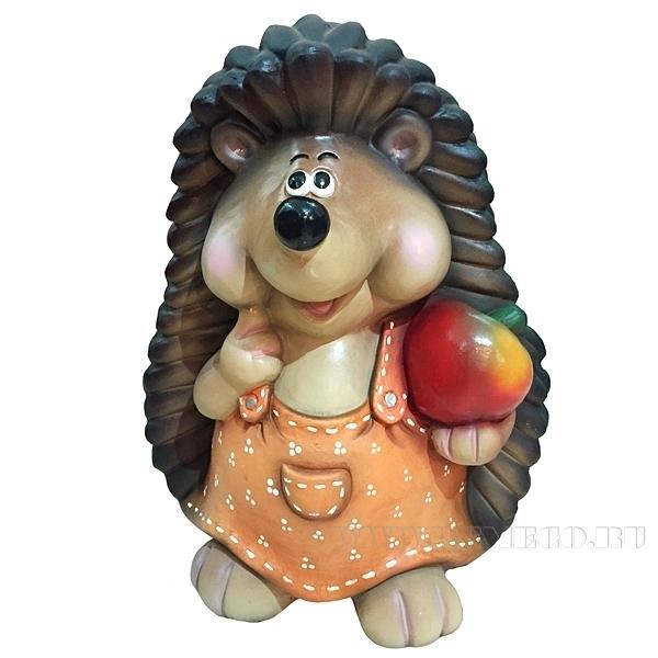 Фигура декоративная Ежиха с яблоком Н38 оптом