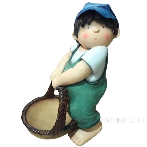 Фигура декоративная Мальчик с корзиной Н38см. оптом