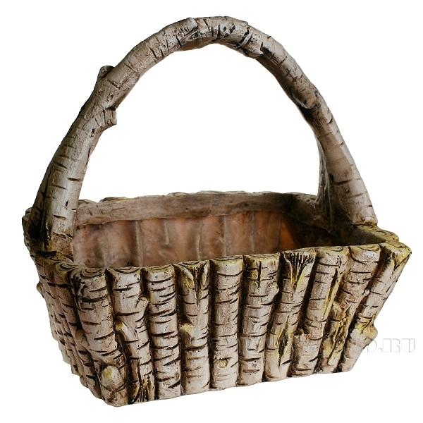 Кашпо декоративное Деревянная корзина L31W22.5H37 см оптом