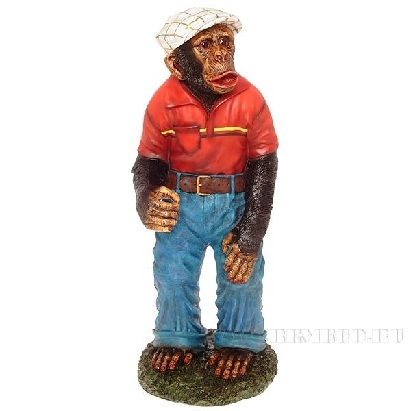 Фигура декоративная Обезьяна в штанах Н88см (красная футболка) оптом