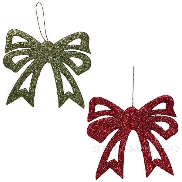 Декоративное новогоднее украшение Бант, 8х10,5 см оптом