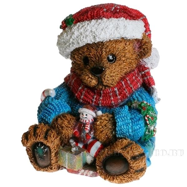 Фигура декоративная Медвежонок с подарком  L21W21H24 см оптом