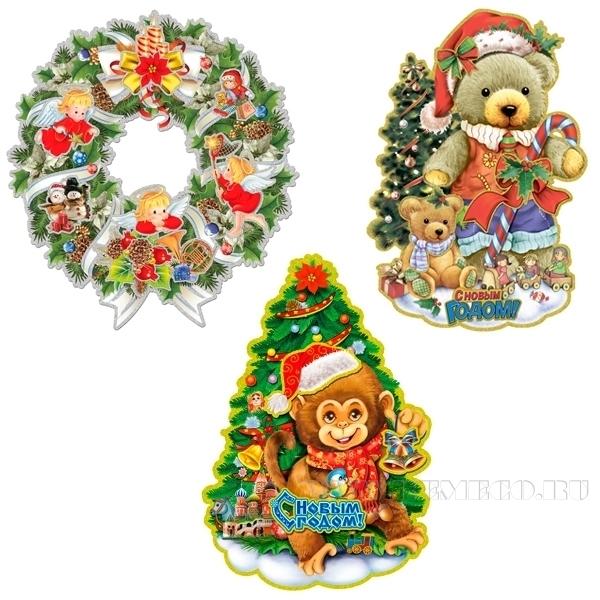 Декоративное изделие Новогоднее панно26*39 см оптом