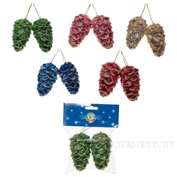 Набор из 2 новогодних украшений Шишка, 9 см оптом