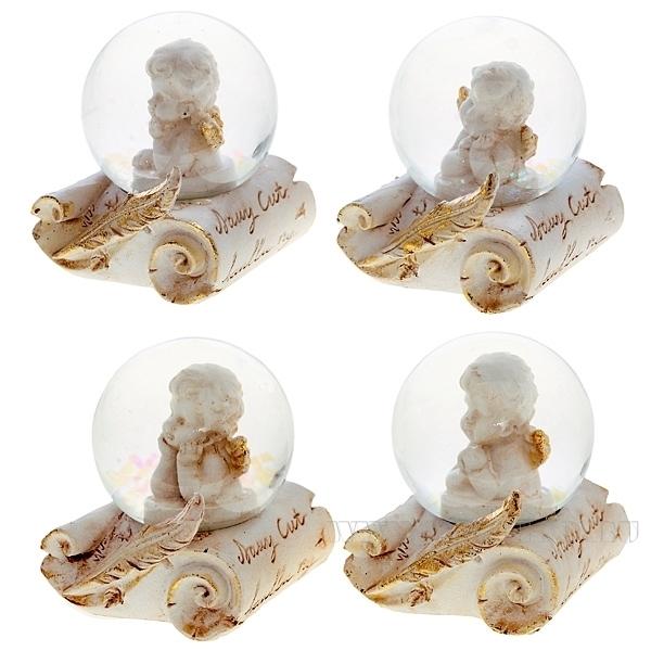 Декоративное изделие Фигурка в стеклянном шаре Ангел, L6 W5 H7 см оптом