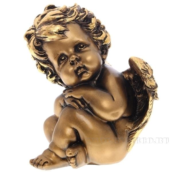Фигурка декоративная Ангел сидит (сусальное золото),  H18 см оптом