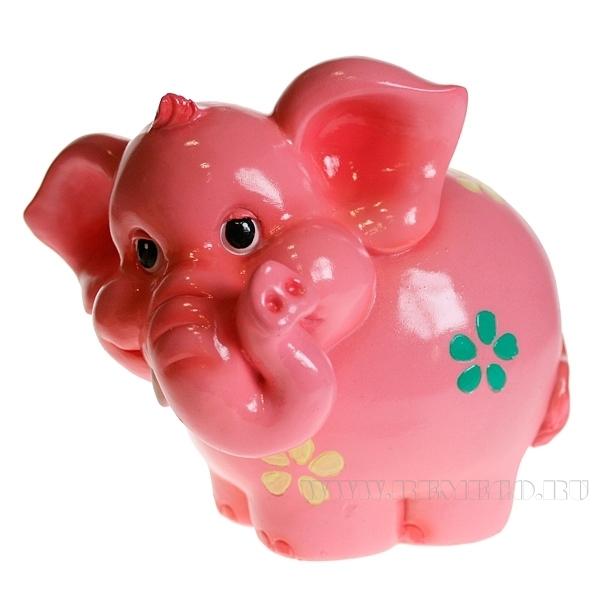 Копилка Розовый слоненок , L16 W14 H15,5 см оптом