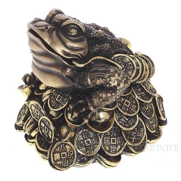 Фигура декоративная Лягушка (золото), L14W15H14 см оптом