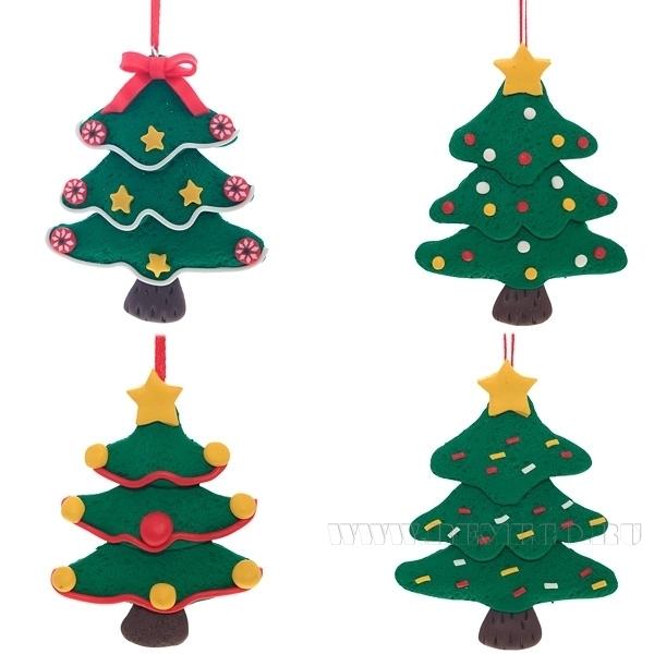 Новогоднее украшение, 3,5х12,5 см, 4 в. оптом