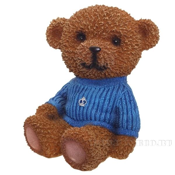 Копилка Мишка в синем свитереW11.5L10H17см оптом