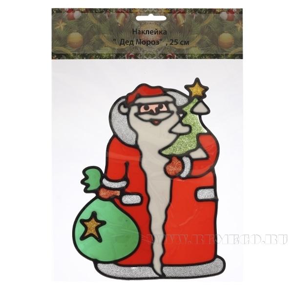 Наклейка на окно Дедушка Мороз 25 см оптом
