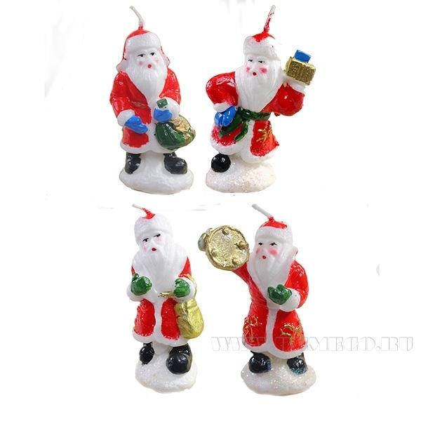 Свеча Дед Мороз, L4,5W3 H8,2см, 4в оптом