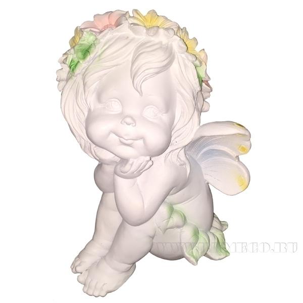 Фигура декоративная Ангелочек мечтатель 29см оптом