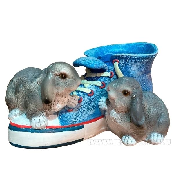 Кашпо декоративное Кед с зайцами 14см оптом