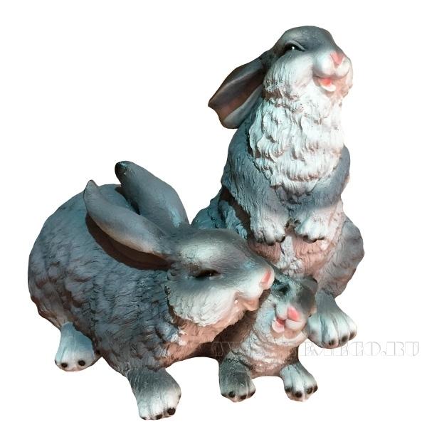 Фигура декоративная Зайцы семейка, L27 W23 H24 см оптом