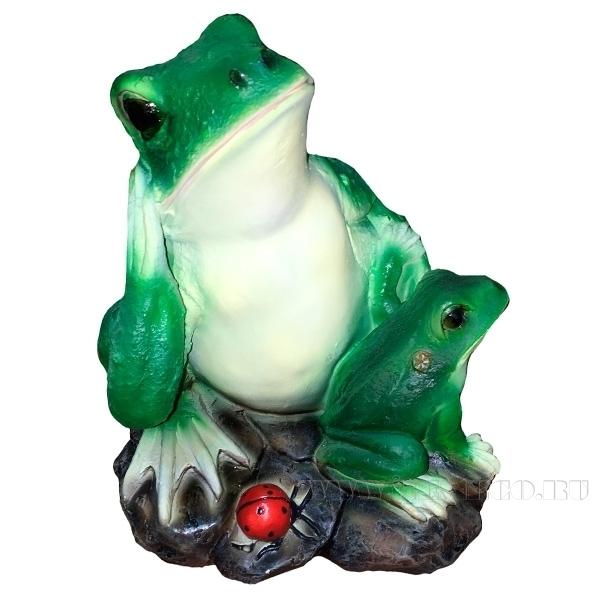 Фигура декоративная Лягушка с лягушонком L24W24H22 см оптом