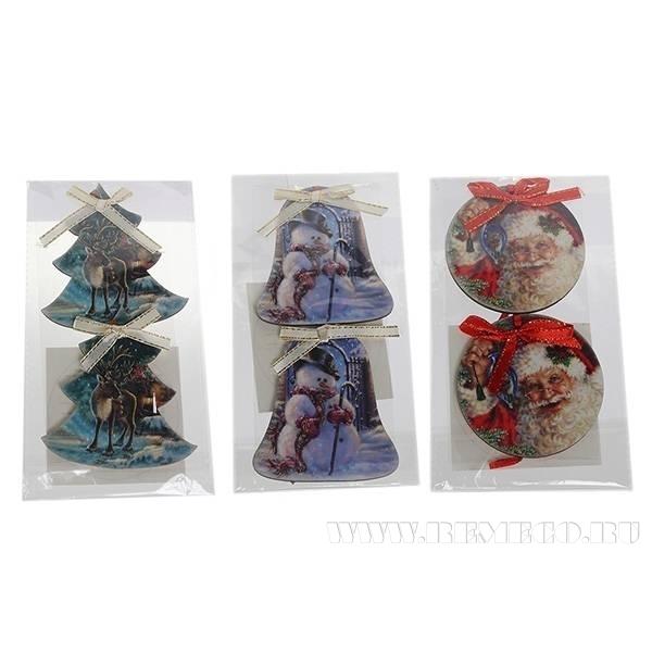 Набор из 2х новогодних украшений  Деревянная подвеска оптом