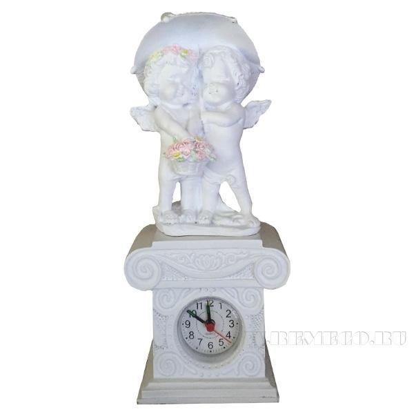 Часы Ангелочки под зонтомН26см. (цвет белый) оптом