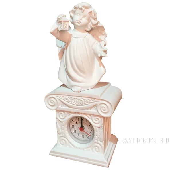 Композиция время Ангел с фонариком Н25см.(цвет белый) оптом