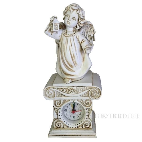 Композиция время Ангел с фонариком Н25см. (цвет антик) оптом