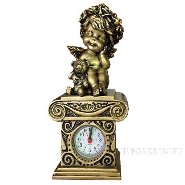 Композиция время Ангелочек с медведем Н24см. (сусальное золото) оптом