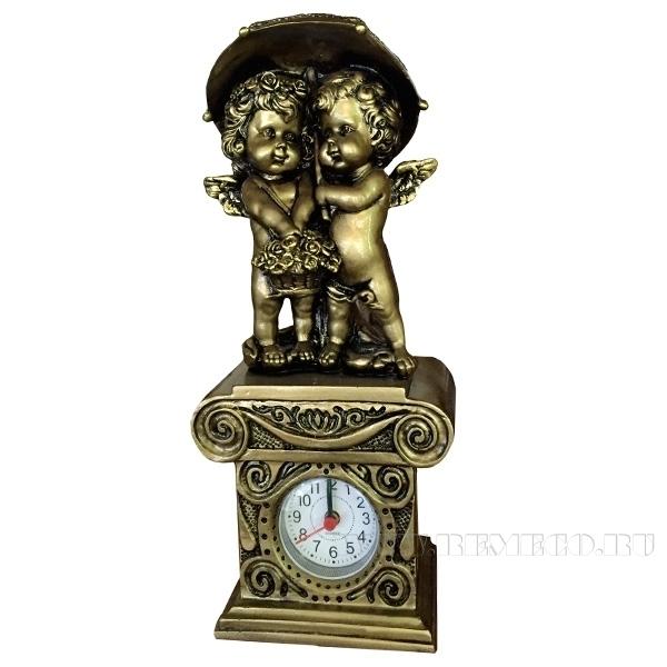 Композиция время Ангелочки под зонтомН26см. (сусальное золото) оптом
