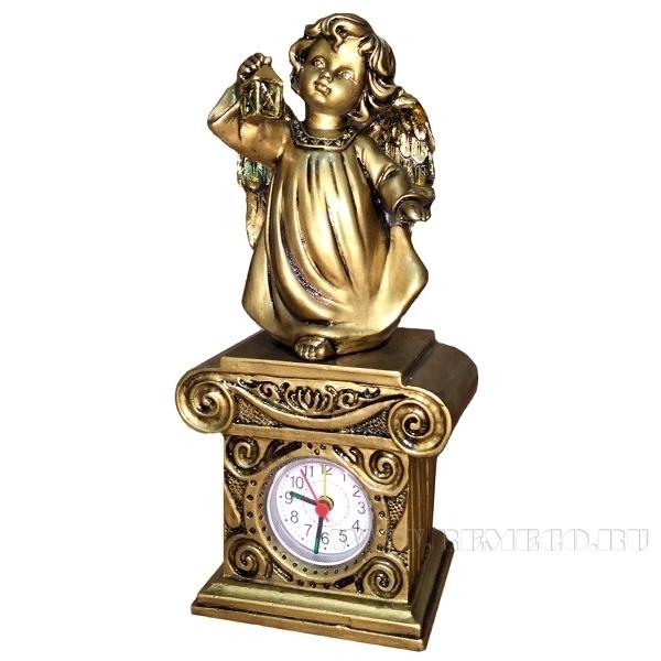 Композиция время Ангел с фонариком Н25см.(сусальное золото) оптом