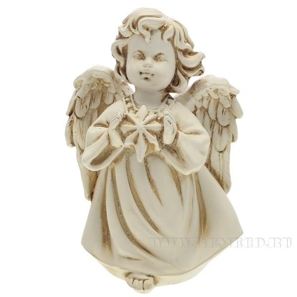 Фигура декоративная Ангелочек со звездочкой (цвет антик),  L11W8H15 cм оптом