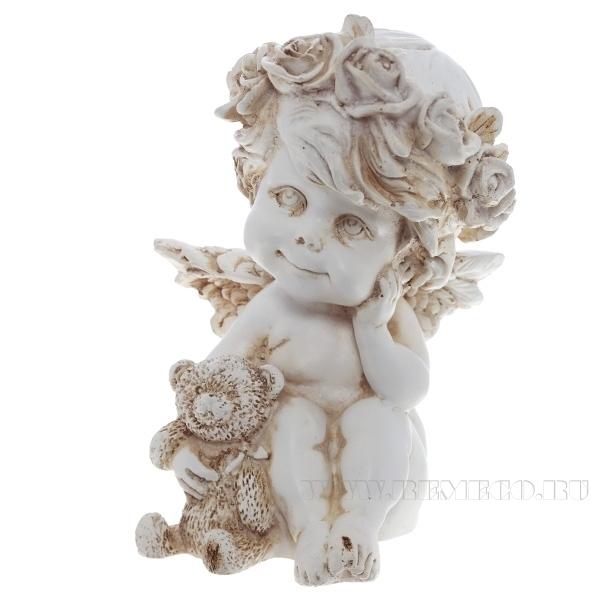 Фигура декоративная Ангелочек с медведем (цвет антик), L9,5W9,5H13 cм оптом