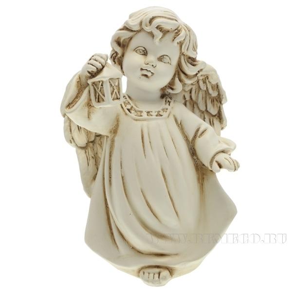 Фигура декоративная Ангел с фонариком (цвет антик), L11W8H15 cм оптом
