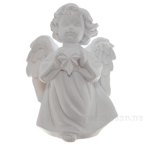 Фигура декоративная Ангелочек со звездочкой (цвет белый), L11W8H15 cм оптом
