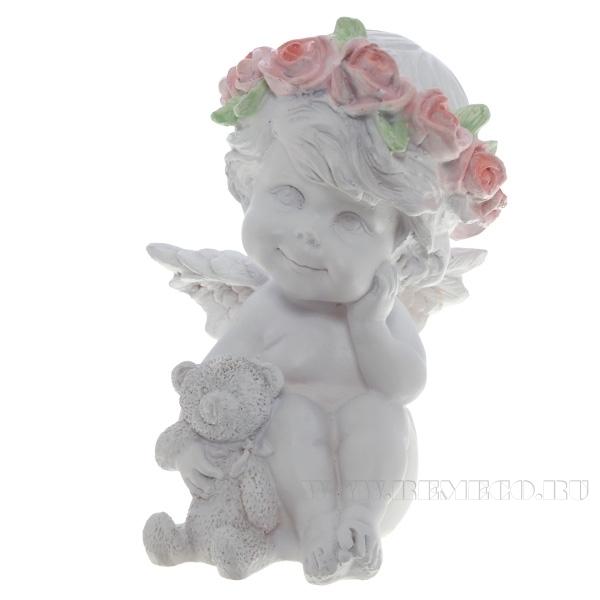 Фигура декоративная Ангелочек с медведем (цвет белый), L9,5W9,5H13 cм оптом