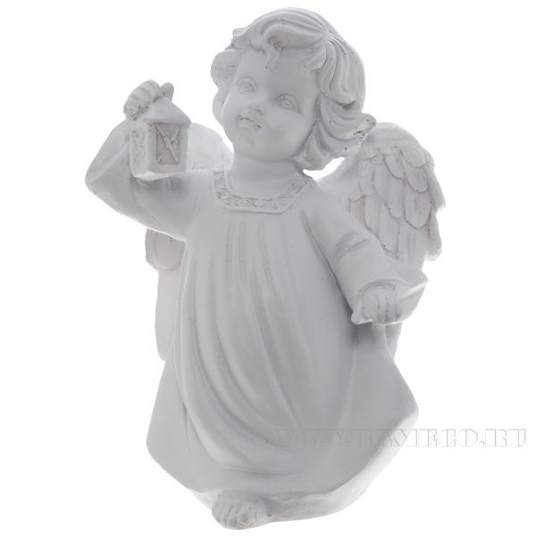 Фигура декоративная Ангел с фонариком (цвет белый), L11W8H15 cм оптом