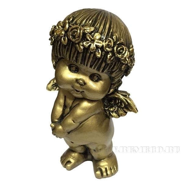 Фигура декоративная Ангел (цвет сусальное золото), L10W8H14,5 cм оптом