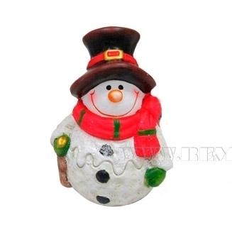 Фигурка декоративная Снеговичок 7,7х6,7х10,8 см (красный шарф) оптом
