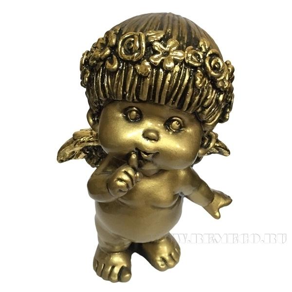 Фигура декоративная Ангел (цвет сусальное золото), L10W8,5H14,5 cм оптом