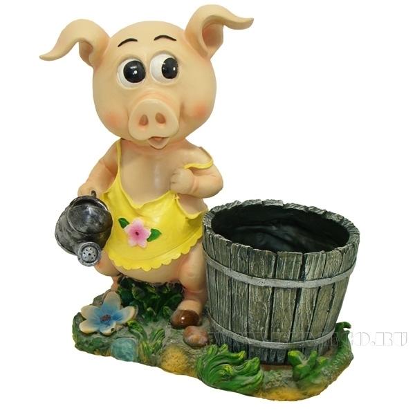 Кашпо декоративное Свинка-хозяюшкаL33W17H36см оптом
