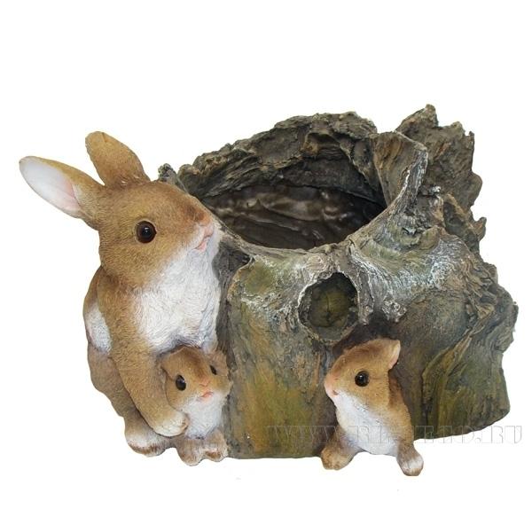 Кашпо декоративное Три зайца у пенька L35.5W28H21.5см оптом