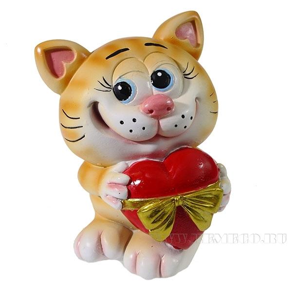 Копилка Котик с сердцем (рыжий) L9.5W9H13см оптом