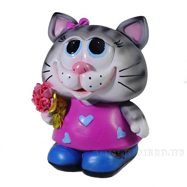 Копилка Кошечка с цветами (цвет серый) L12W10.5H16см оптом