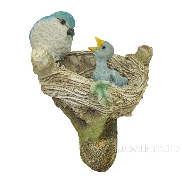 Фигура садовая навесная Птицы в гнезде L12.5W14H23.5см оптом