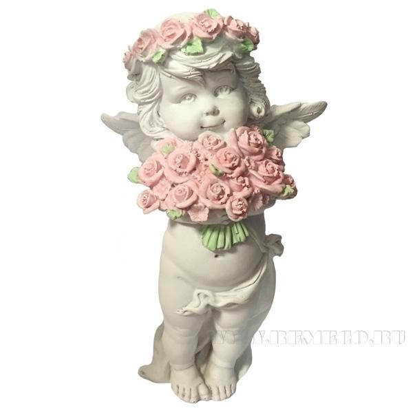 Фигурка декоративная Ангел с розами , L12,5W9Н22см оптом