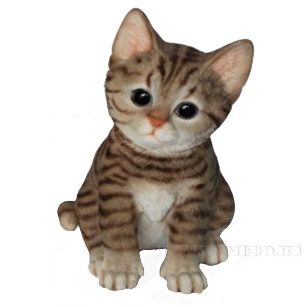 Фигура декоративная садовая Полосатый Котёнок , L14 W12 H20 см оптом