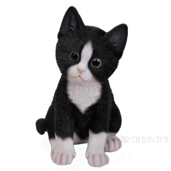 Фигура декоративная садовая Котёнок чёрно-белый, L14 W12 H20 см оптом
