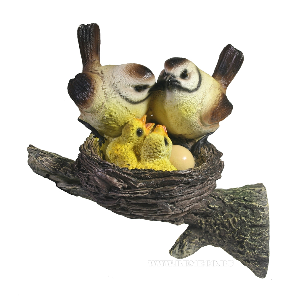 Фигура декоративная садовая навеснаяГнездо с серыми птицамиL18W10,5H14,5см. оптом