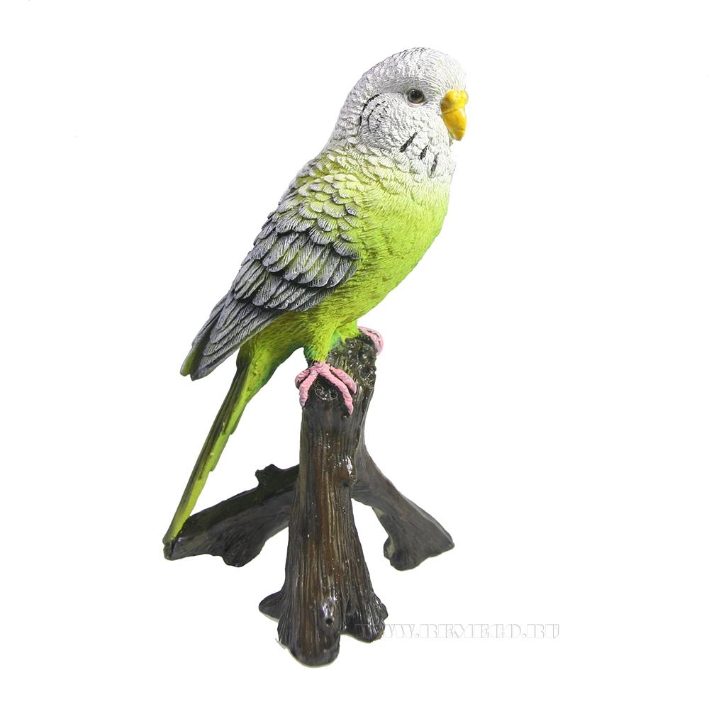 Фигура декоративная садовая навесная Зеленый попугай L9,7W8H16,5см оптом