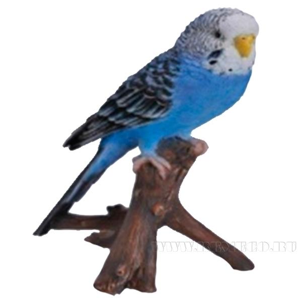 Фигура декоративная садовая Попугай на веткеL9,7W8H16,5см оптом
