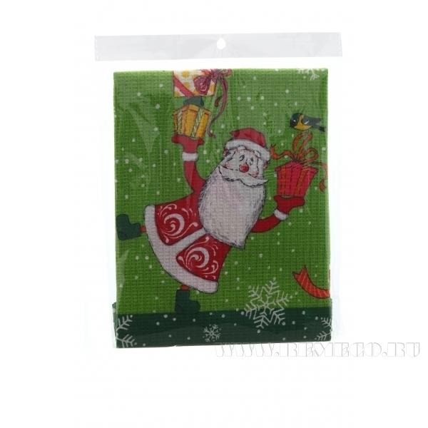 Полотенце вафел. Веселые Деды Морозы,зел 74*51см () оптом