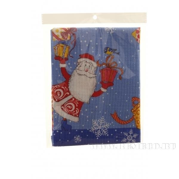 Полотенце вафел. Веселые Деды Морозы,син 74*51см () оптом