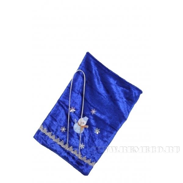 Мешок для подарков 35*24см (синий бархат) () оптом